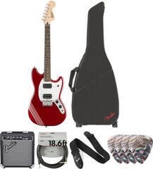 Fender Squier Bullet Competition Mustang HH IL Candy Apple Red Deluxe SET