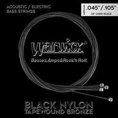 Warwick Black Nylon Tapewound Acoustic/Electric Bass String Set Medium .045-.105